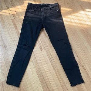 Zara low rise ripped ankle jeans